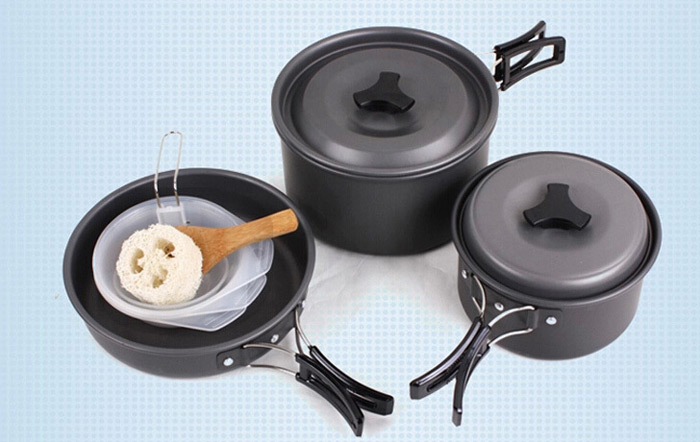 AOTU Portable Camping Cookware Set with Folding Handle