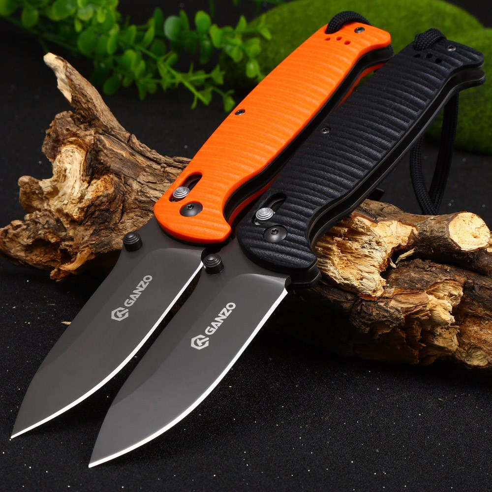 Ganzo G7413P-BK-WS Axis Lock Pocket Knife + Whistle