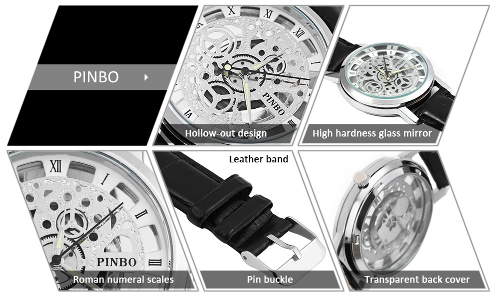 Pinbo Men Holllow Leather Quartz Watch Stainless Steel Case