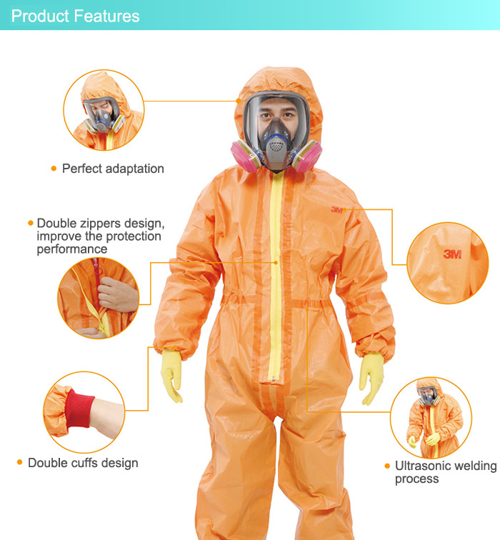 3M 4690 Conjoined Protective Clothing with Hood Chemical Liquid Prevention Clothes