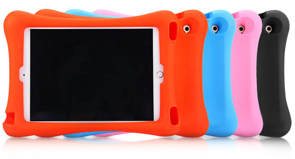 Silicone Shockproof Dust-proof Protective Case Cover with Kickstand Holder for iPad Air 2