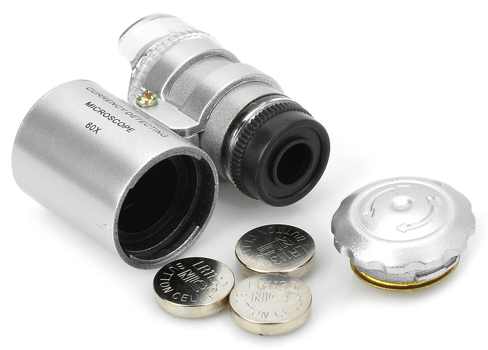 2 in 160X Magnifier / Currency Detector Loupe with LED / UV Light Magnified Tool