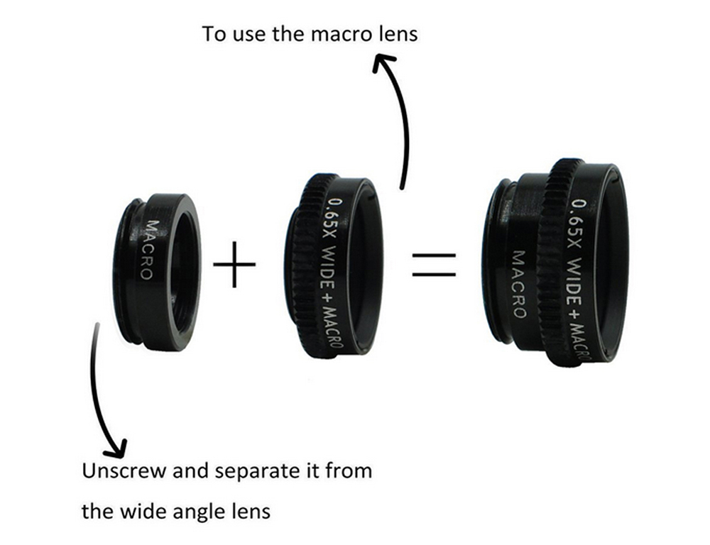 Old Shark 3-in-1 Phone Lens Kit with 180 Degree Fisheye + 0.65X Wide Angle + 10X Macro Lens