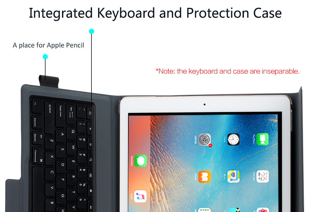 ROCK 2 in 1 Protective Cover Case Wireless Bluetooth Keyboard for iPad Pro with Stand Function