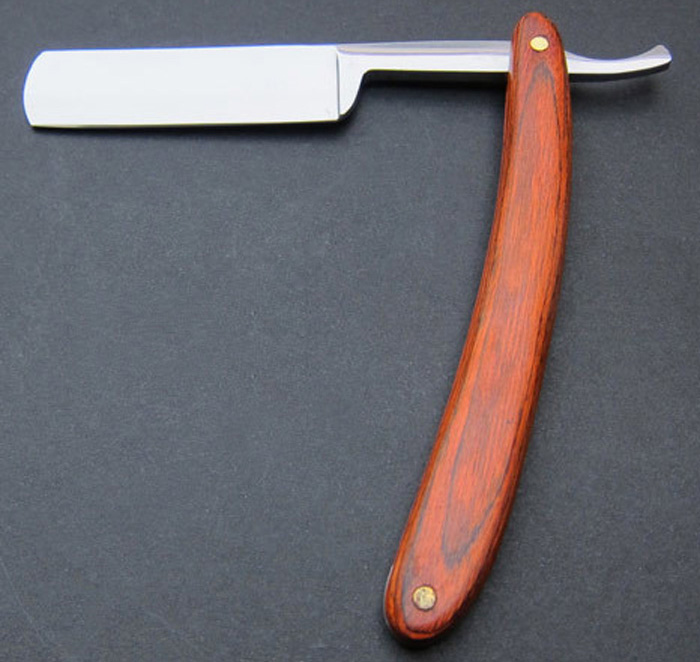 Old Stainless Steel Straight Edge Barber Razor Wooden Handle Eyebrow Trimmer