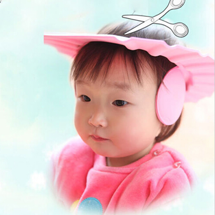 Kids Care Safe Shampoo Cap with Ear Wash Shield Thick Bath Adjustable Protection Hat