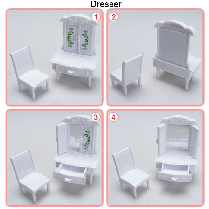 WANQIXIANG Mini Plastic Furniture Set Playing House Toy DIY Home Decoration