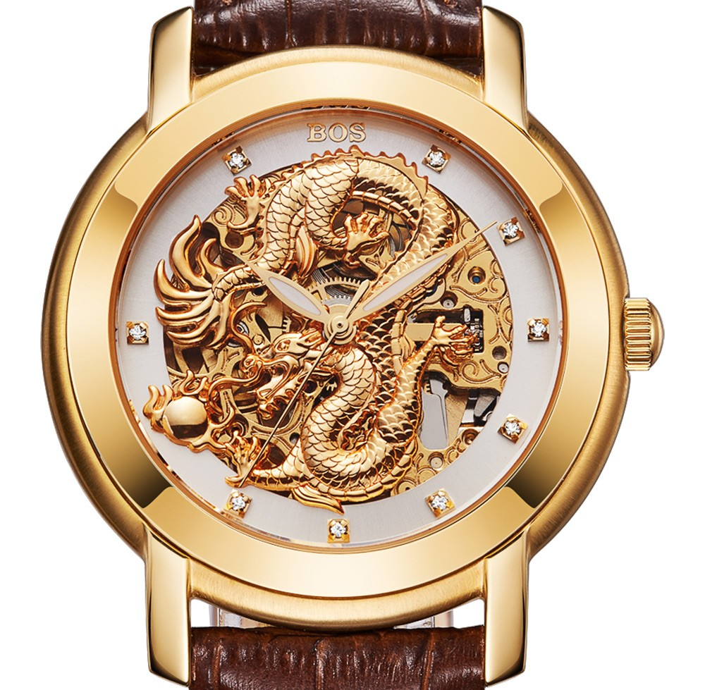 BOS 9007G Diamond Scale Chinese Dragon Pattern Automatic Mechanical Watch for Men