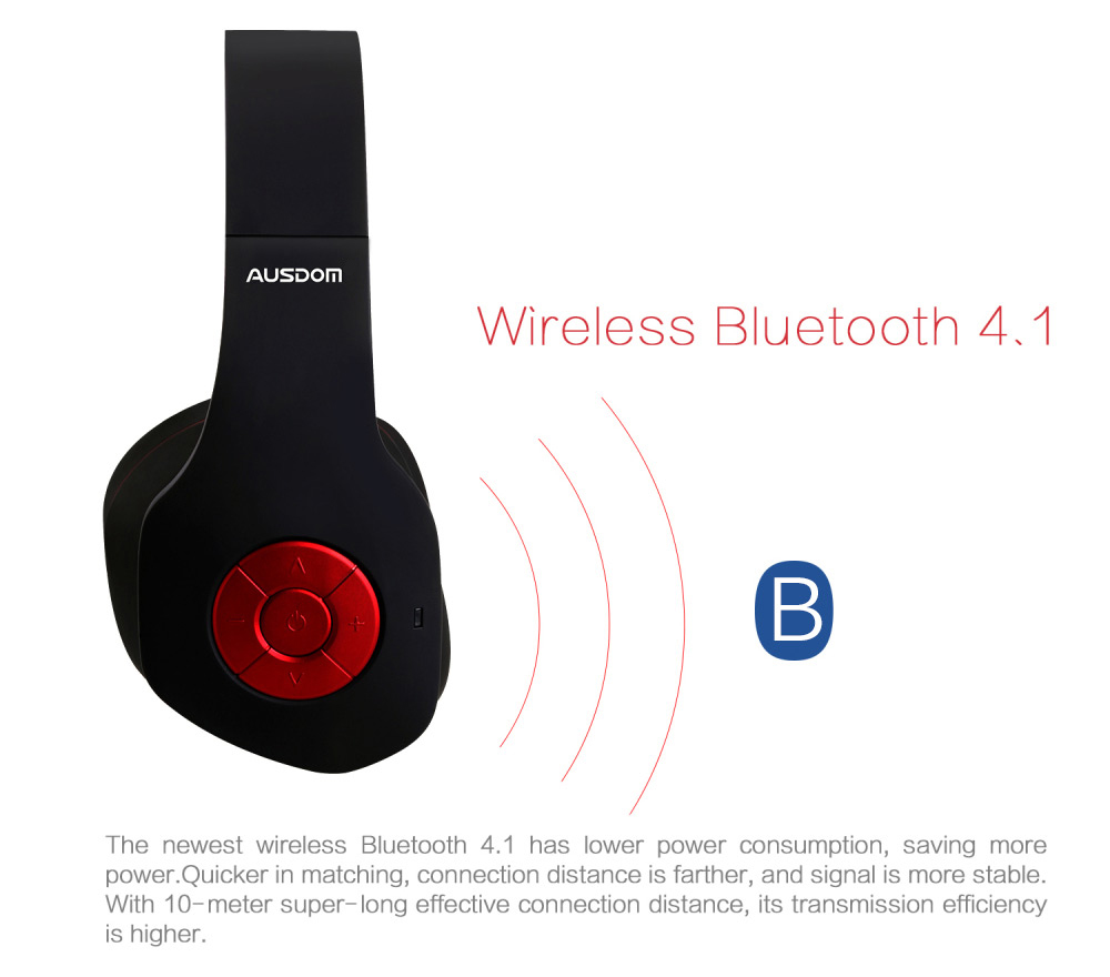 AUSDOM AH862 Wired and Wireless Bluetooth Headband Headphones with Mic Volume Control