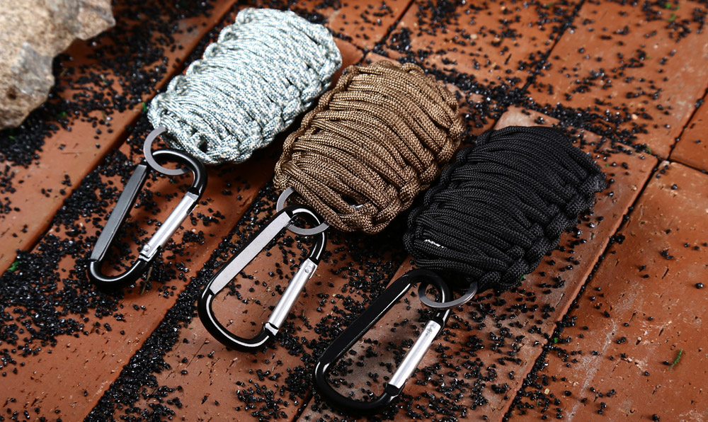 8 in 1 Survival Paracord Fishing Tools Key Chain Carabiner Grenade Survival Kit with Sharp Eye Knife