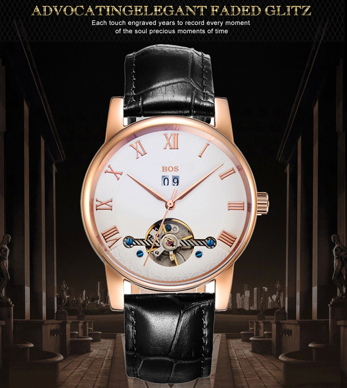 BOS 9005G Date Display Tourbillon Automatic Mechanical Watch for Men