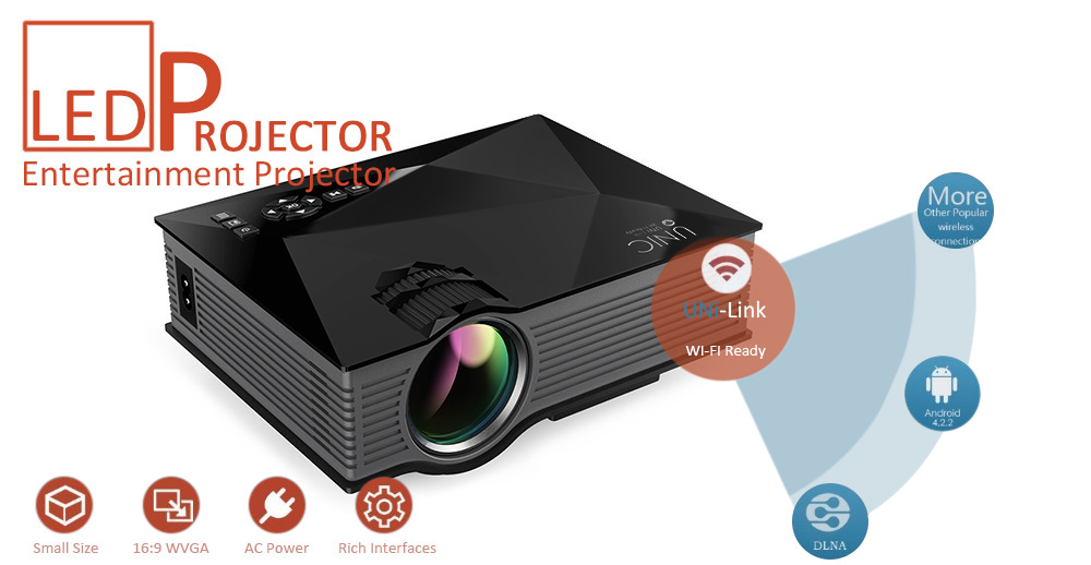UNIC UC46 Mini WiFi Portable LED Projector With Miracast