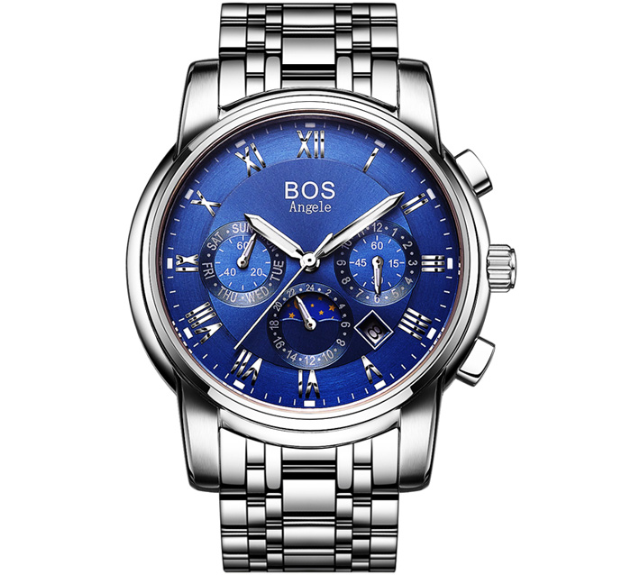 BOS 9011 Date Day Month Display Moon Phase Automatic Mechanical Watch for Men