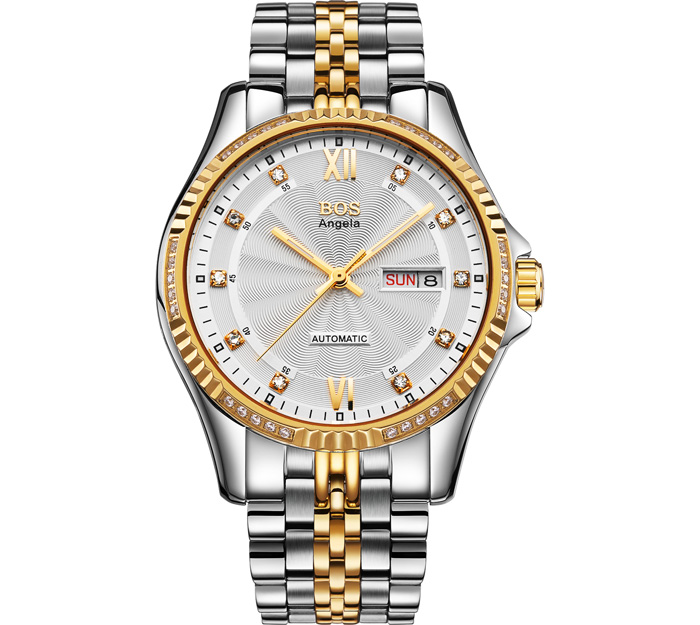 BOS 9012G Date Day Display Diamond Scale Automatic Mechanical Watch for Men