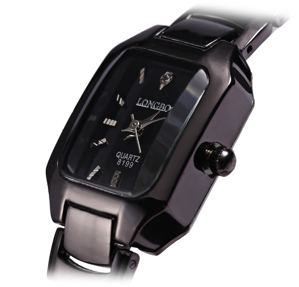 Longbo 8199 Women Rectangle Dial Quartz Wrist Watch Stainless Steel Band