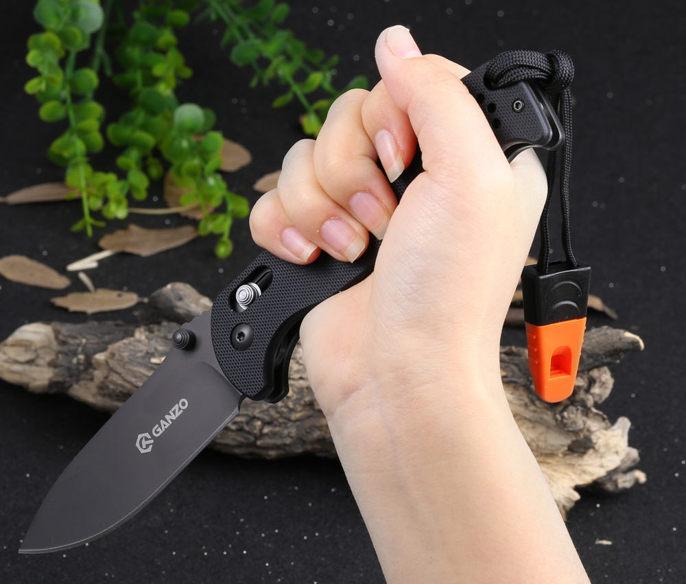 Ganzo G7413-GR-WS Axis Lock Pocket Knife + Whistle