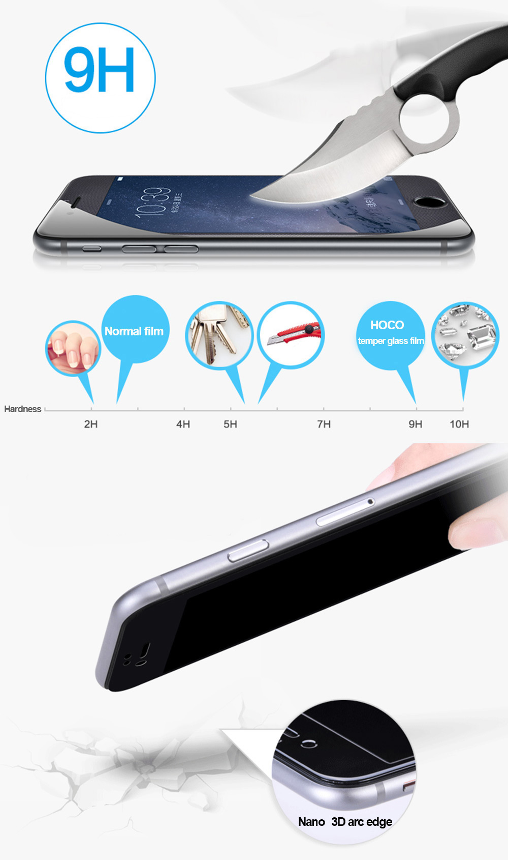 HOCO 9H 3D Full Screen Nano Tempered Glass Protective Film for iPhone 6 / 6S