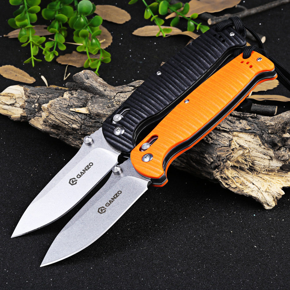 Ganzo G7412P-BK-WS Axis Lock Pocket Knife + Whistle