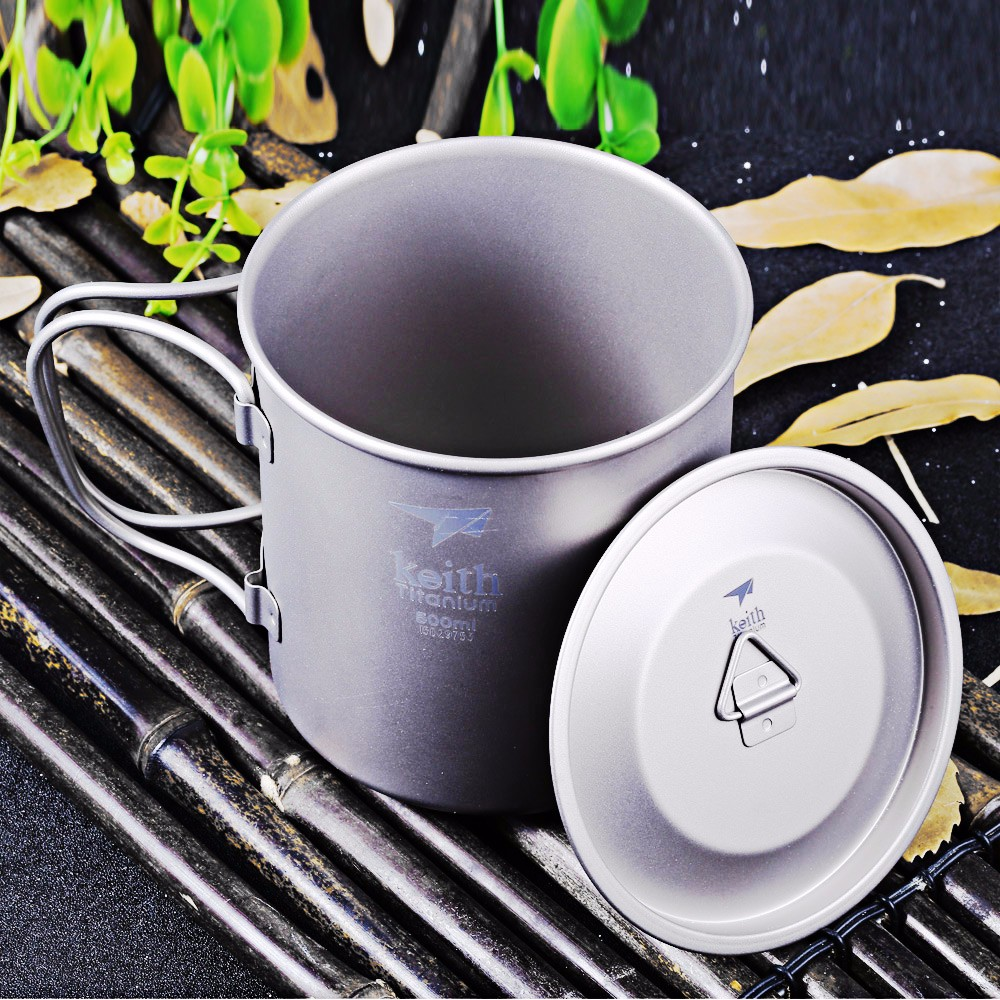 Keith Ti3205 500mL Titanium Cup with Cover for Outdoor Camping