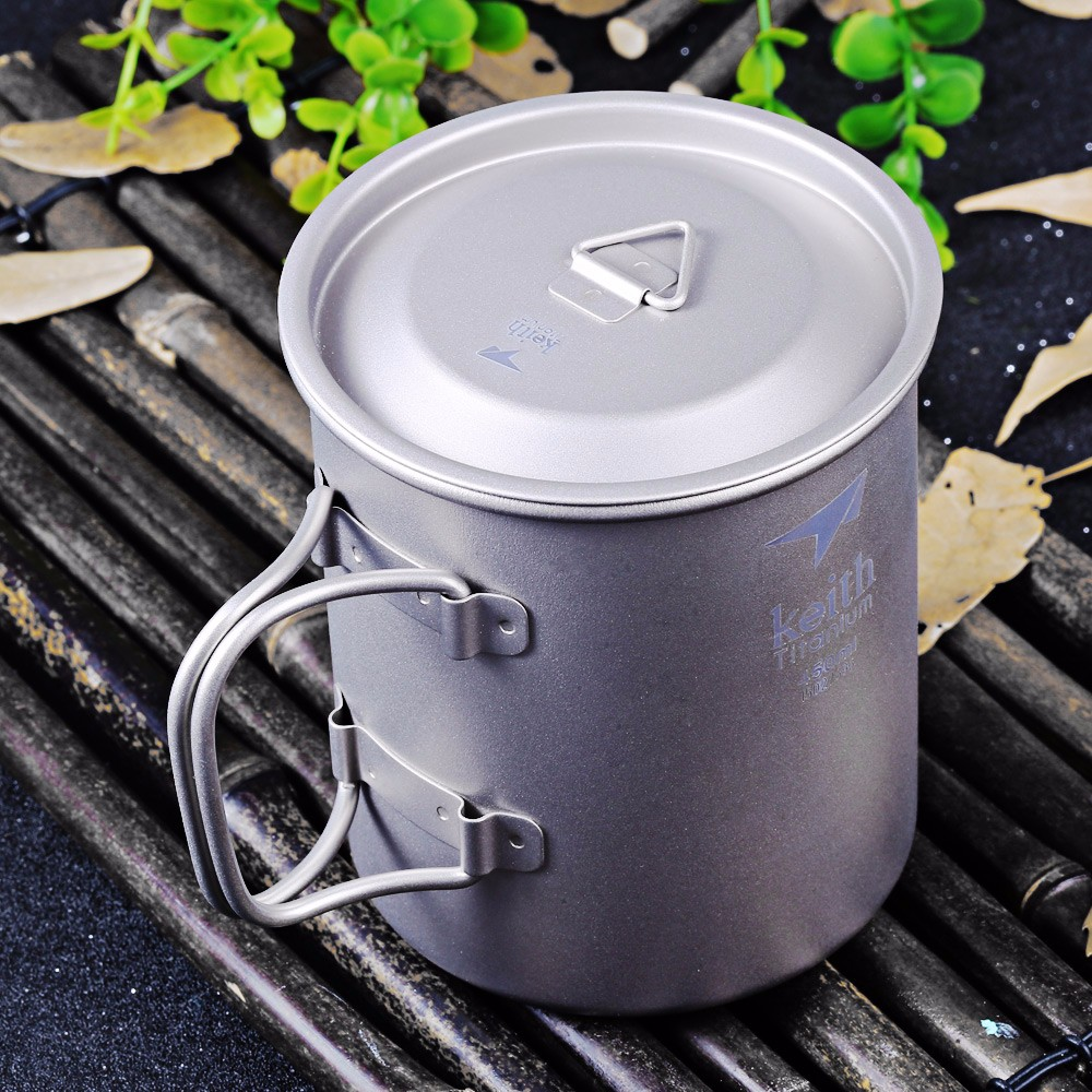 Keith Ti3204 450mL Titanium Cup with Cover for Outdoor Camping