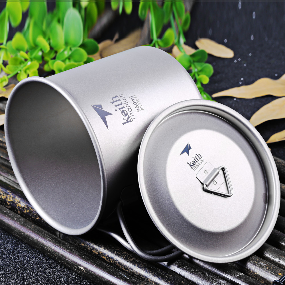 Keith Ti3240 350mL Titanium Cup with Cover for Outdoor Camping