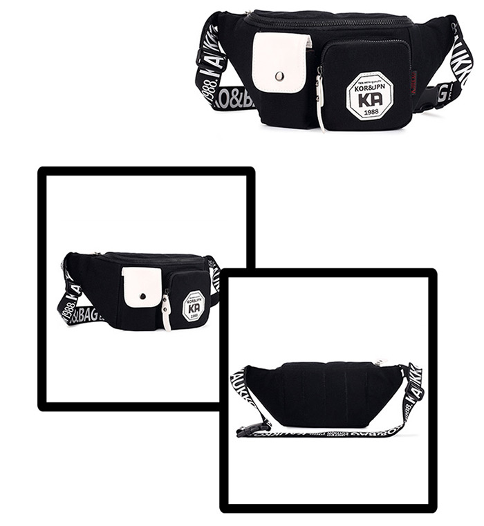 KAUKKO 2.3L Unisex Waist Bag with Printing Pattern Shoulder Strap