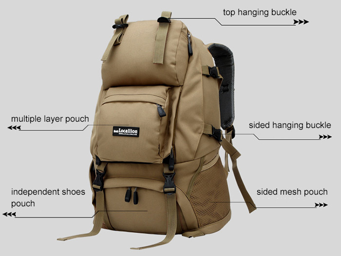 LOCAL LION Unisex 40L Multifunctional Climbing Backpack with Molle System