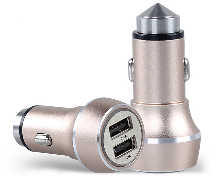 YOPIN cc-018 2 in 1 Quick Charge Car Charger Adapter Emergency Hammer with Dual USB Ports