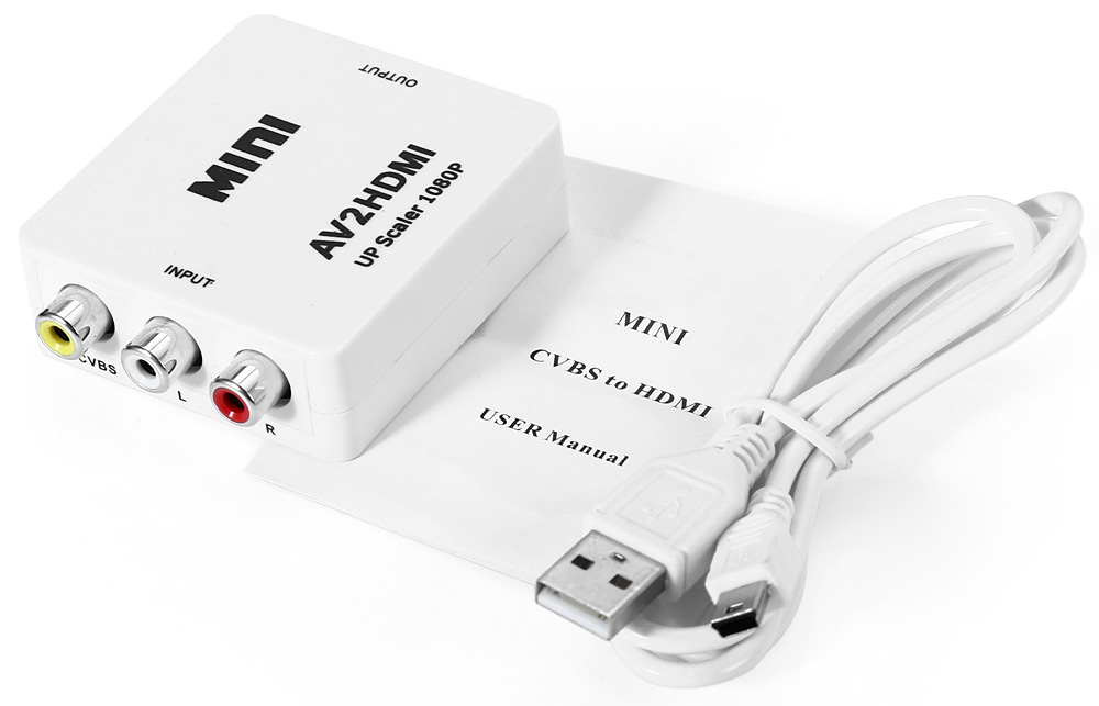 AV to HD 1080P HDMI Video Converter with 3 RCA Connectors
