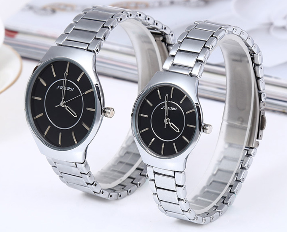Sinobi 9442 Cool and Fashionable JAPAN Round Dial Quartz Watch Stainless Steel Strap for Couple