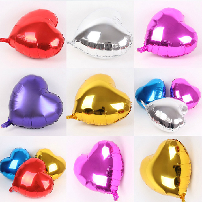 10 inch Heart Shape Foil Balloon Auto-Seal Reuse Party / Wedding Decor Inflatable Gift for Children