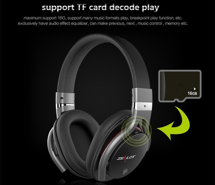 Zealot B5 Wireless Bluetooth Headband Headphones with Mic TF Card Slot Volume Control