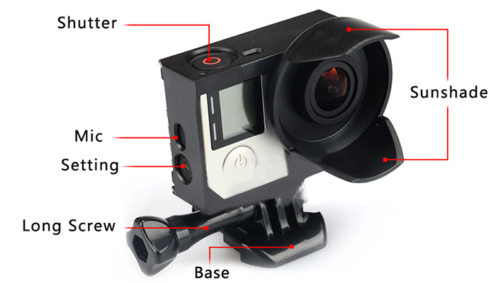 KingMa BMGP201 Protective Frame Cage Housing with Sunshade for GoPro Hero 4 / 3+ / 3 Action Cameras