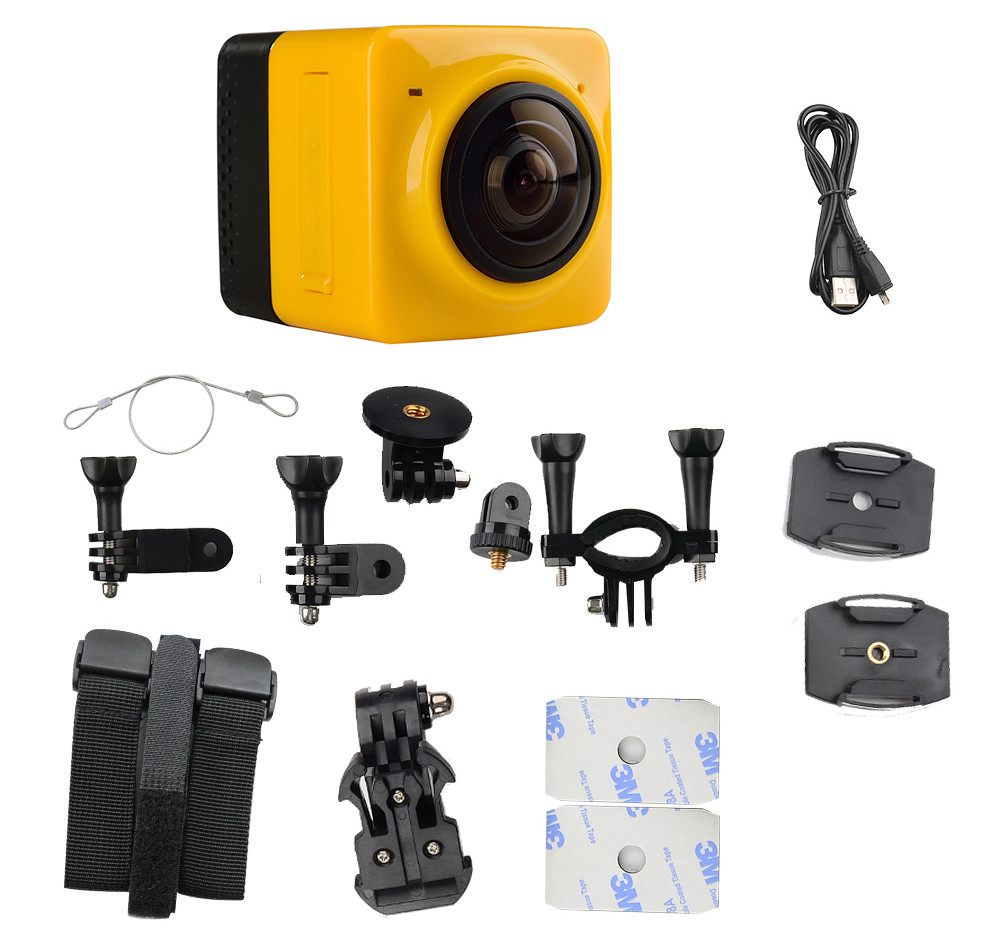 Cube 360 360 Degree Full Visual Angle Action Sports Camera Recorder WiFi Function with Standard 1/4 Screw Interface