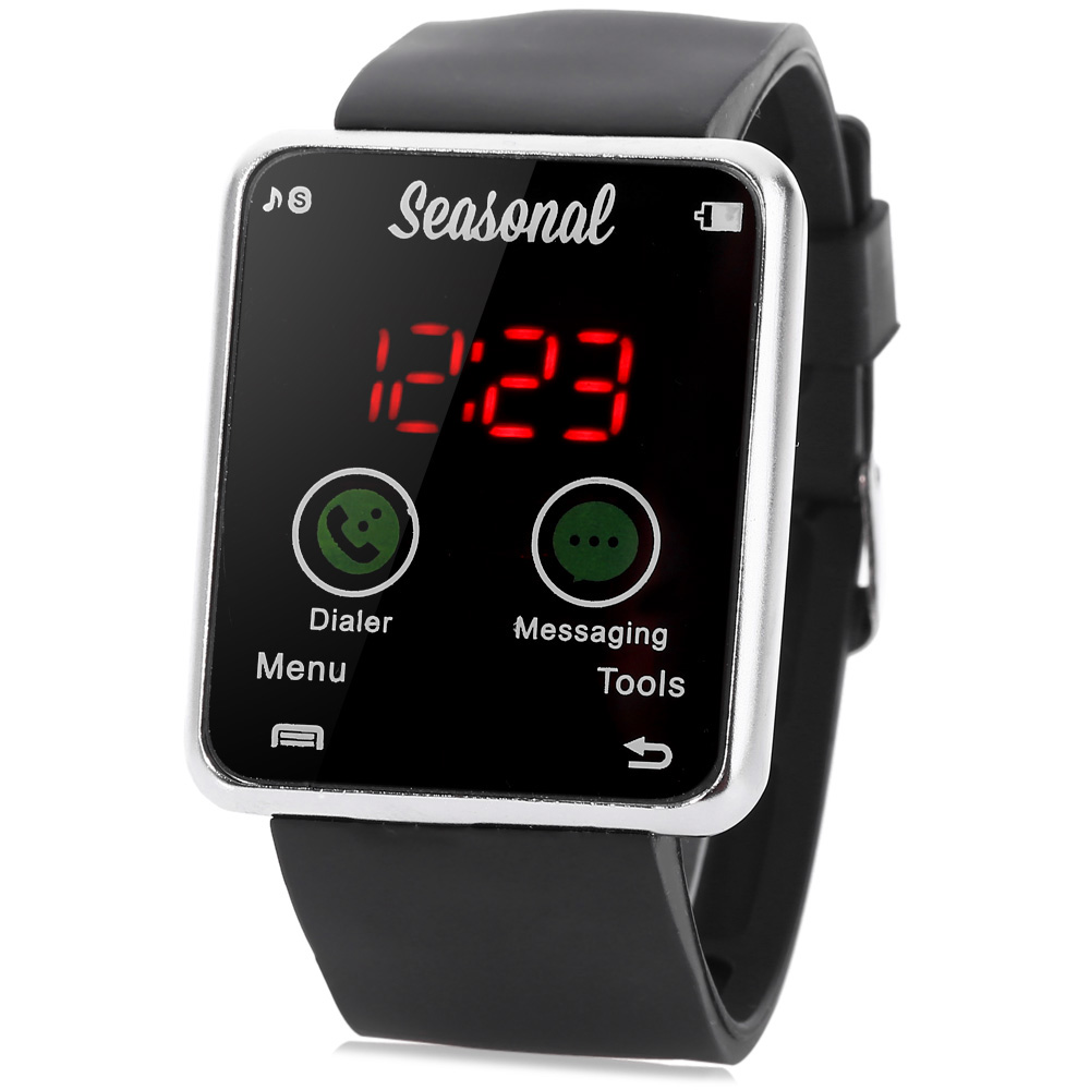 Seasonal Touch-screen Digital Rectangle Dial Rubber Band LED Watch