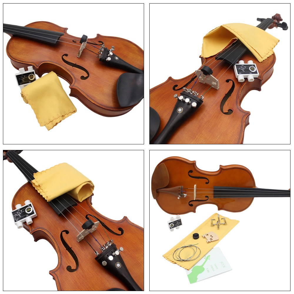 6 in 1 4 / 4 Violin Cleaning Kit Fiddle Rag Mute Tuner Bridge Tuning Flute String Accessories