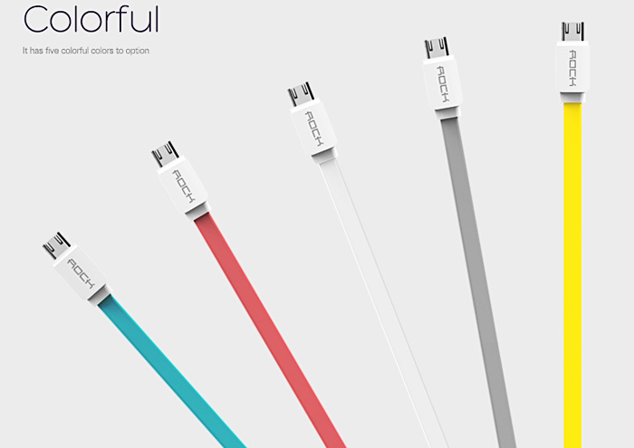 Rock 1m Micro USB Charging Sync Cable Flat Design