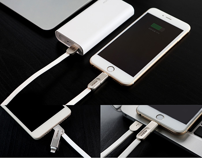Rock 2 in 1 USB Female to 8 Pin Micro USB Interface Cable MFI Certified Support Charging Data Transfer for iPhone 6 / 6S / 6 Plus / 6S Plus - 1m