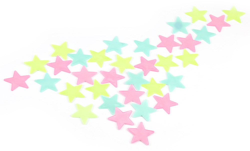 100Pcs DIY Colorful Wall Star Luminous Sticker Fluorescent Glow Decal Home Decoration