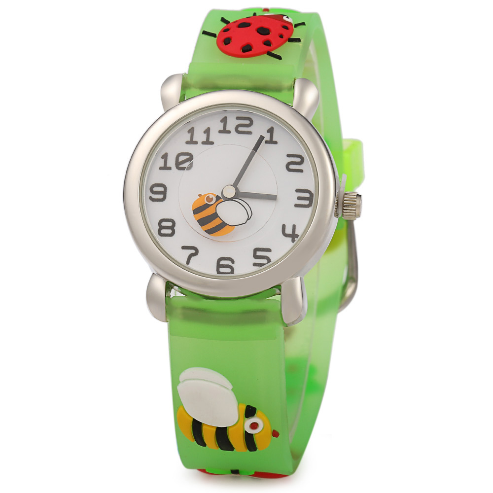 Round Dial Stereo Cartoon Pattern Rubber Band Quartz Watch for Kids