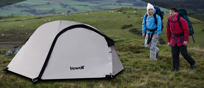 Hewolf Water Resistant 3-Season Dual Layer Camping Tent for Two Person
