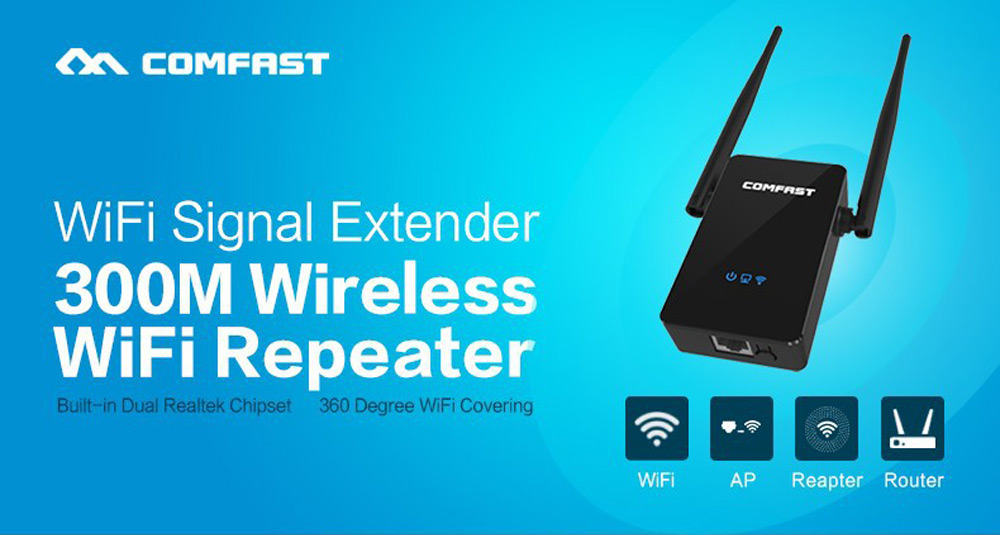 Comfast CF - WR302S 300M WiFi Repeater Dual 5dBi Antenna Signal Booster with Four Modes
