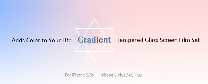 8thdays Gradient Protective Tempered Glass Screen Film Back Front Protector Set for iPhone 6 / 6S with Back Case