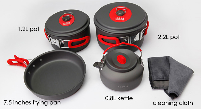 ALOCS CW-C06S Seven-piece Cookware Set Hard Alumina + Silicone Made