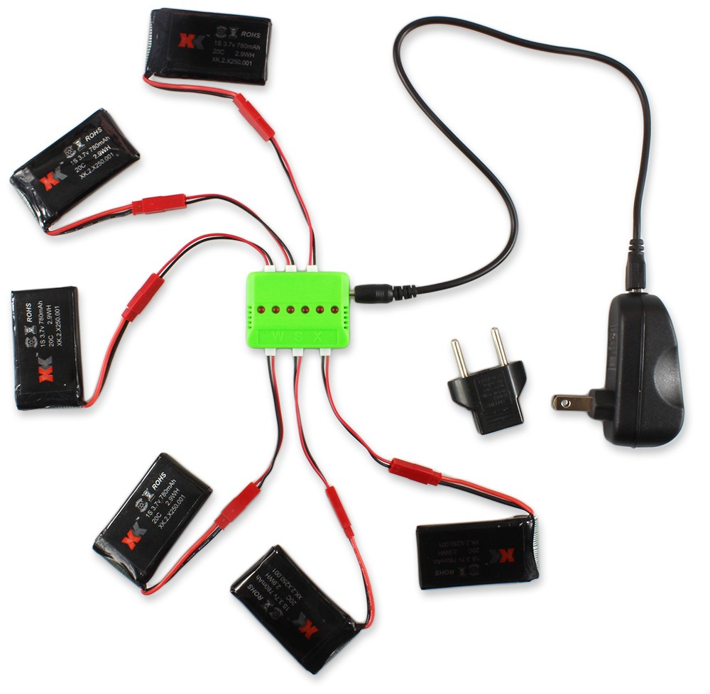 WSX / MX X6A - B06 6Pcs 3.7V 780mAh 20C Battery with Charger / Cable Set for XK Alien X250 X250 - A 3A US Plug with EU Connector