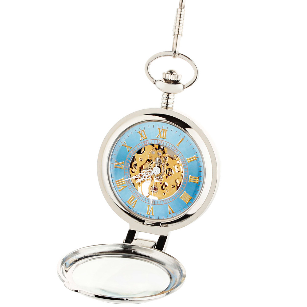 Transparent Front Cover Two-faced Hollow-out Design Mechanical Pocket Watch