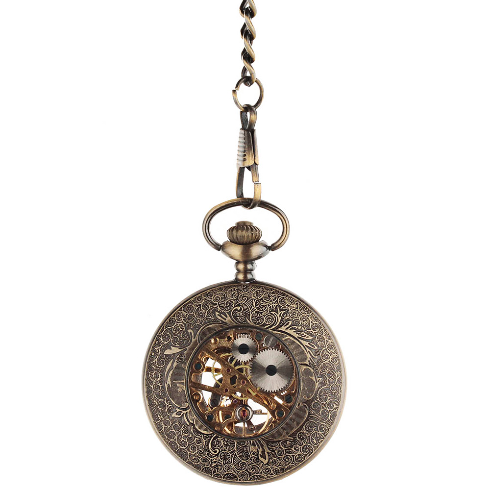 Two-faced Hollow-out Design Roman Numerals Scale Mechanical Pocket Watch