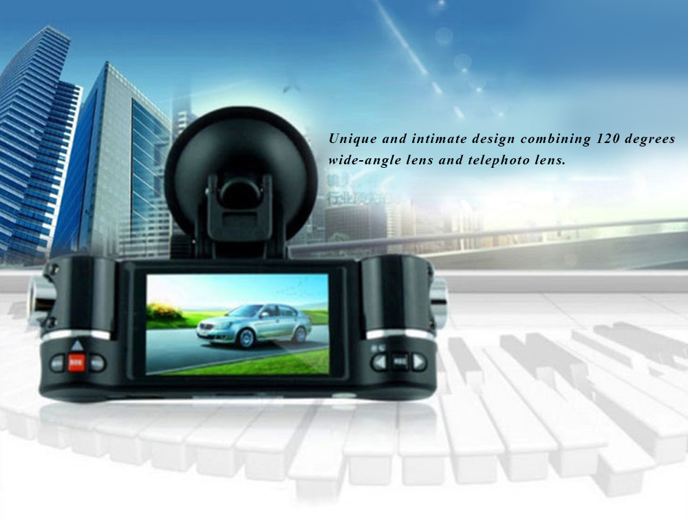 F30 Dual Lens 2.7 inch Auto Camcorder Car DVR Camera HD Windshield Driving Recorder