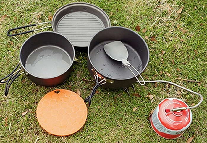 ALOCS CW-C11 9pcs Cookware Set Camping Pot for Outdoor Picnic