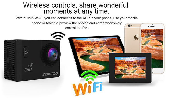 Original SOOCOO C30 WiFi 170 Degree Wide Angle 4K Ultra HD Action Camera Voice Prompt 2.0 inch Screen Loop Cycle Recording Motion Detection